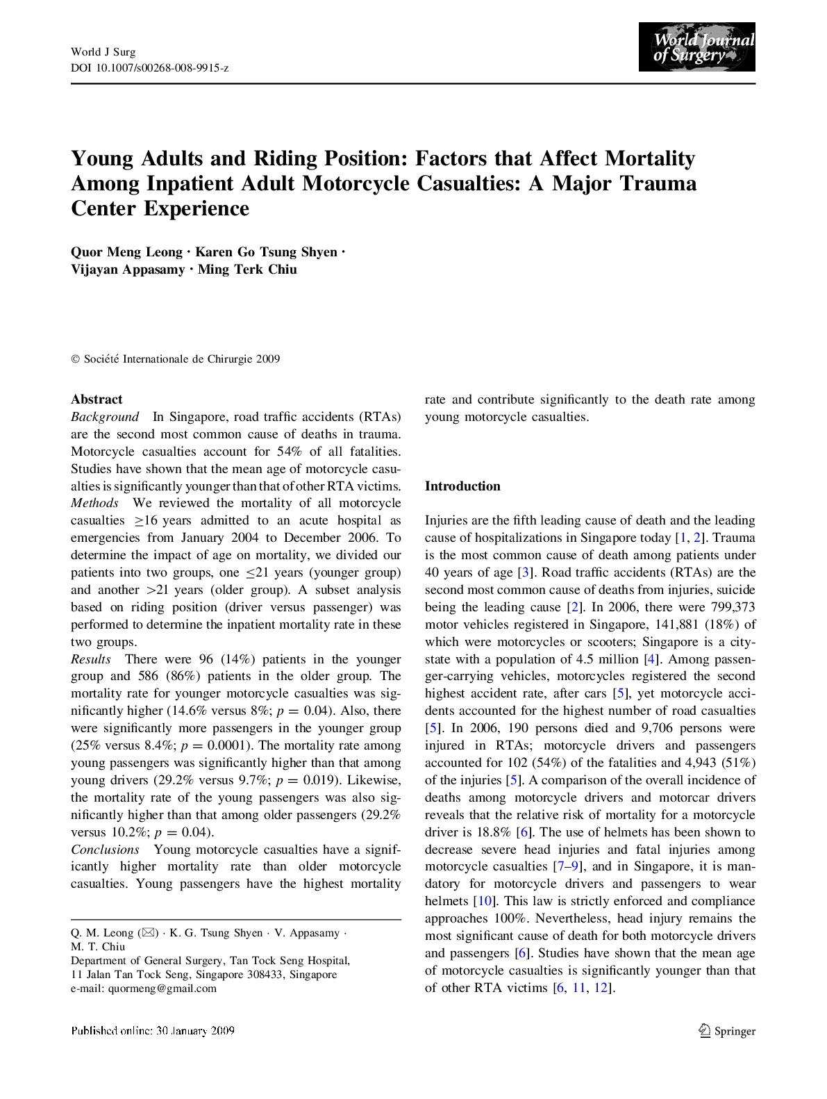 Factors that Affect Mortality Among Inpatient Adult Motorcycle Casualties