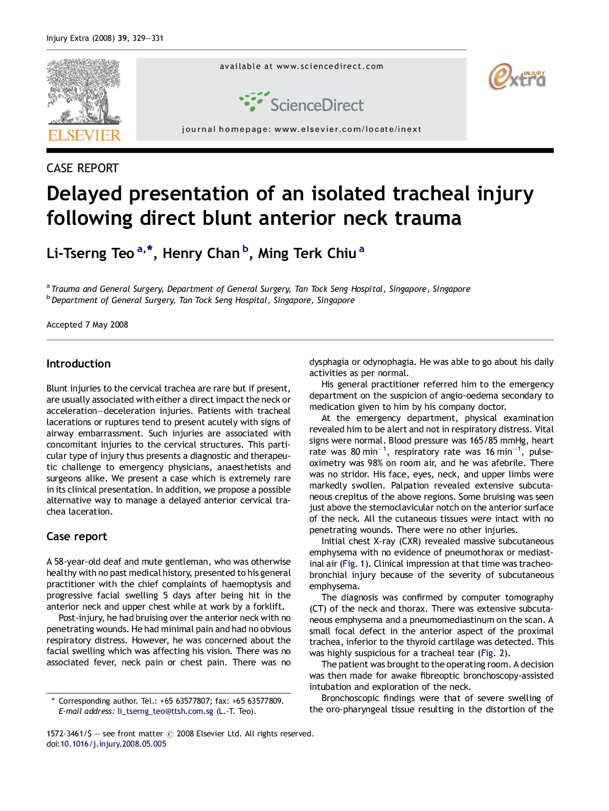 Delayed Presentation of An Isolated Tracheal Injury Following Direct Blunt Anterior Neck Trauma