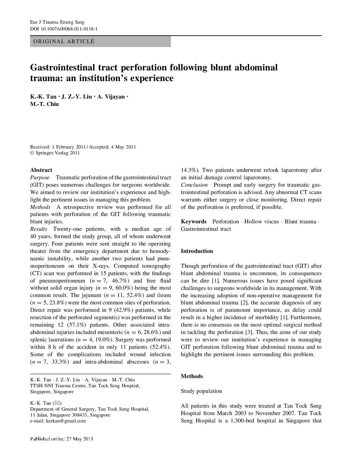Gastrointestinal tract perforation following blunt abdominal trauma: an institution's experience